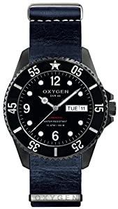 OXYGEN Moby Dick Black 44 unisex quartz Watch with black Dial analogue Display and blue leather Strap EX-D-MBB-44-NL-NA