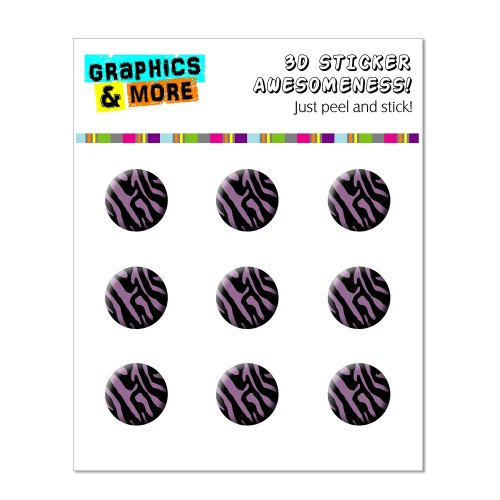 Graphics and More Zebra Print Black Purple Home Button Stickers Fits Apple iPhone 4/4S/5/5C/5S, iPad, iPod Touch - Non-Retail Packaging - Clear - 1
