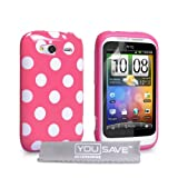 HTC Wildfire S Stylish Polka Dot Silicone Gel Patterned Case Cover And With Screen Protector Film Hot Pink White Spotsby Yousave Accessories