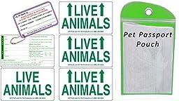 Live Animal Label Set of 5 w/ Pet Passport Pouch GREEN
