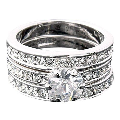 DDLBiz® 3 in 1 argento Acciaio Inossidabile Eternità Anello Anelli Banda Zirconia Cubica Zircone Matrimonio Donna (8)