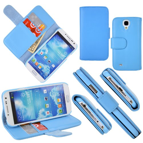 Celljoy Leather Wallet Credit Card Horizontal Kick Stand Hard Case For Samsung Galaxy S4 Siv S Iv (At&T / Sprint / Verizon / Unlocked) [Celljoy Retail Packaging] (Teal Blue)