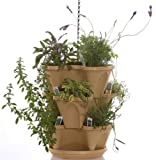 Nancy Janes P1360 12-inch Stacking Planters with Patented Flow through Watering System and Hanging Chain, Tuscany, Set of 3