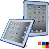Cooper Cases(TM) Defender Apple iPad 2/3/4 Rugged Shell in Blue + Free Screen Protector (Two-piece Design, Silicone Shell, Rubberized Hard Plastic, Integrated Kickstand)