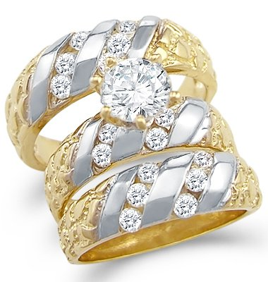 Size- 4 - 14k Two Tone Gold CZ Engagement Wedding Nugget His and Hers Trio Three Piece Ring Set Round Cut
