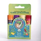 Badger Balm Lip Gift Set - Green (Stick) Tangerine lavenader vanilla pink Grapefruit Organic