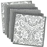 DII Damask Cleaning, Washing, Drying, Ultra Absorbent, Microfiber Dishcloth, Set of 6, Gray