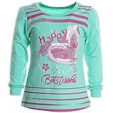 Mädchen Bluse Shirt Pullover Langarmshirt Longsleeve Sweatshirt T-Shirt 20200, Farbe:Grün;Größe:116