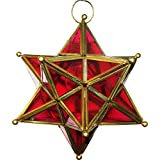 Al Noor Metal & Glass Wall Light (Golden & Red)