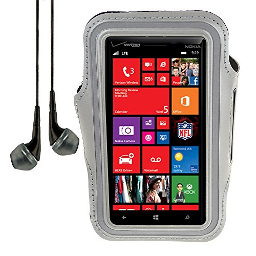 Sports Armband Case For Nokia Lumia Icon / Lumia 630 / Nokia Xl / Nokia 1020 928 920 + Vangoddy Headphone With Mic , Black (Gray)