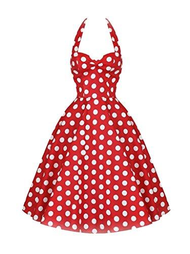 Women's 50s Rockabilly Dress Polka Dot Halter Retro Cocktail Dress Swing Dress (Red, M)