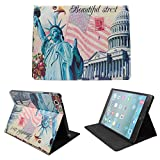 FOME European Restores Style Multi-function Protective PU Leather Light-weight Folding Flip Smart Case Cover for iPad 2 3 4- Statue of Liberty/ American flag/ The houses of parliament + FOME Gift