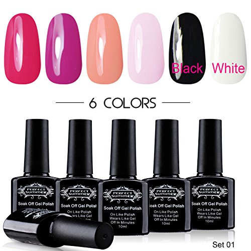 Perfect-Summer-UV-LED-Soak-Off-Gel-Nail-Polish-Pure-Colors-Collection-10ml-Each-6-bottles