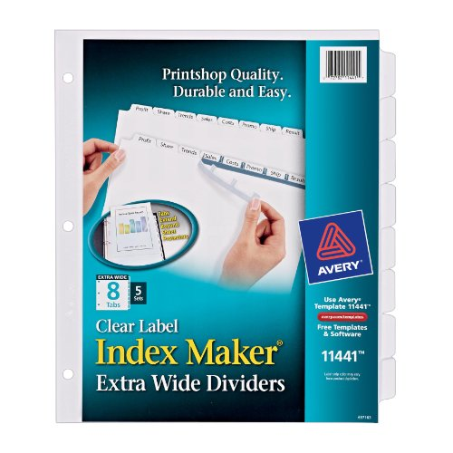 Avery Extra-Wide Dividers, Ink Jet Printer, White, 8-Tab, 9 x 11 Inches, 5 Sets (11441) (Avery Extra Wide Tabs compare prices)