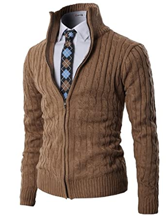 H2H Mens Casual Knitted Cardigan Zip-up with Twisted Pattern