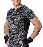 HONENNA メンズ トレーニング ランニング クライマ 陸上ウェア UVカット 吸汗速乾 半袖 T シャツ (XL, ブラック)