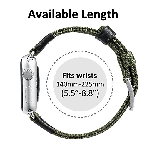 Apple Watch Series 2 Band, Benuo Premium Nylon Woven Smart Watch Replacement, 42mm Wrist Strap with Adjustable Buckle for New Apple iWatch Series 2/ Apple Watch Series 1/Nike+ (Green, 42mm) 3
