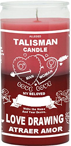 Love Drawing / Talisman Pink/Red Candle - Silkscreen 2 Color 14 Day (Talisman Candle Love Drawing compare prices)