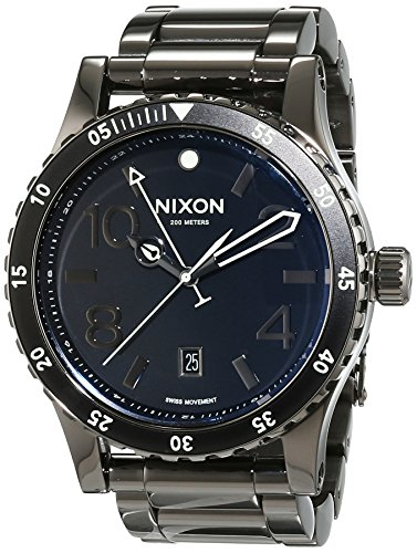 Nixon A277-1885 Mens Diplomat SS Polished Gunmetal Lum Watch