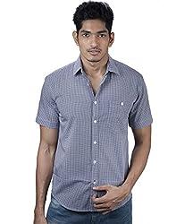 Mavango City Look Blue Checkered Regular Fit Men's Casual Cotton Shirt