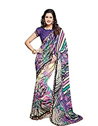 PShopee Purple Weightless Designer Poonam Chiffon Saree with Blouse Piece