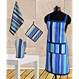 Dekor World Blue Stripe Apron Combo. Set Of 4 Pcs