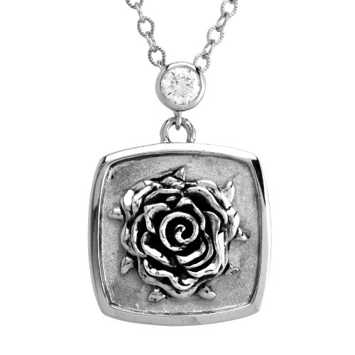 Stainless Steel Rose Tag with Clear Crystal Pendant Necklace , 18+3