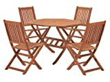 #9: Cotswold Outdoor Dining Set with FSC Certified Eucalyptus Wood (5 Pieces)