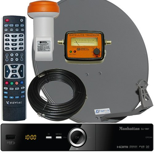 Best Prices! Complete HD FTA Satellite System Manhattan DJ-1997 HD Receiver LNB and Dish With Meter