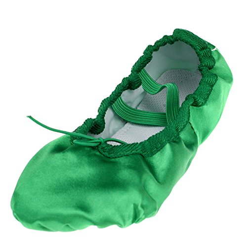 Kid Girl's Satin Practise Ballet Slipper Yoga Shoe,Green,Little Kid,11 M US (Green Pointe Shoes compare prices)