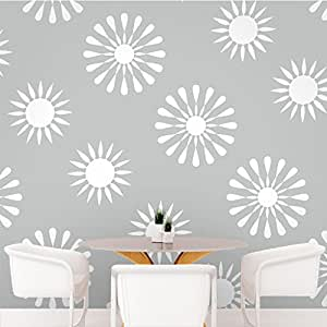 DeStudio Floral Tile Wall Decal, Size X Large & Color : WHITE
