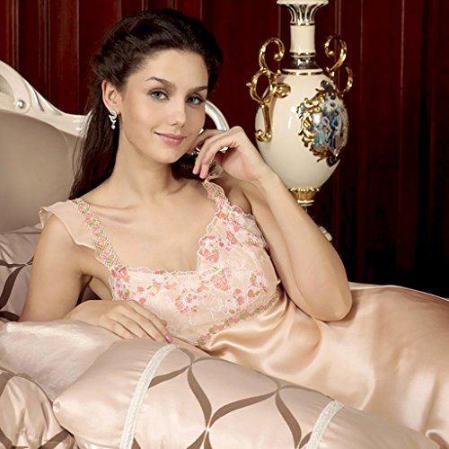 Sexy Laced Authentic Silk Sleeping Nightgown - 010025B front-552693