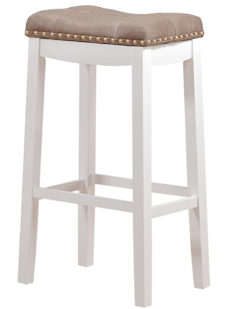 "Angel Line Cambridge Padded Saddle Stool, White with Tan Cushion, 29"" H"