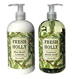 Fresh Holly Shea Butter Hand & Body Lotion And Fresh Holly Hand Soap Duo Set 16 Oz Each By Greenwich Bay Trading Co.