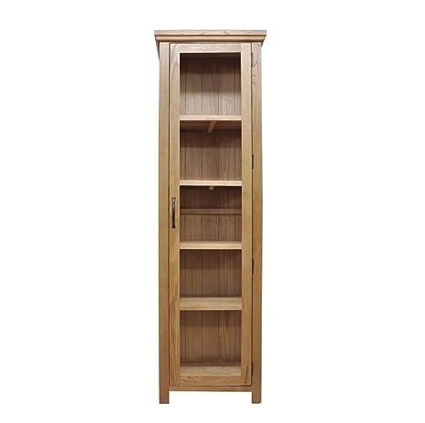 Warwick Oak 1 Drawer 2 Door Glazed Display Cabinet in Waxed Oak Finish | Wooden Storage Cupboard