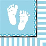 Creative Converting Sweet Baby Feet Blue Lunch Napkins, 16 Count