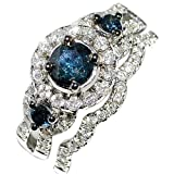 Blue Diamond Bridal Wedding Set 1.3ct 10k White Gold Halo with Round Solitaire Split Shoulder