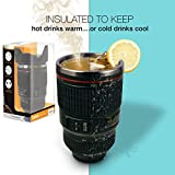 Twitfish® - New 2014 Camera Lens Mug With Stainless Steel Thermos Lining and Sealable Biscuit Tray Cap (Black)