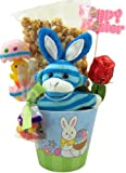 Plush Toy Blue Stripe Sock Monkey with Bunny Ears with Carmel Popcorn and Assorted Candy in Pastel Color Happy Easter Basket