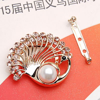 Gorgepus Clip On Style Lady Pin,Brooch ,Peacock Water Crystal & Imitation Pearl-Metallic with Rhinestone,Clip On & Pin 2.5