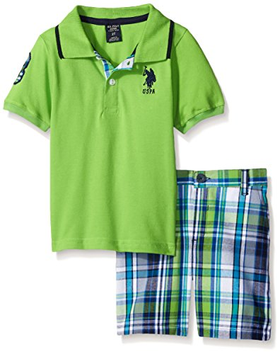 U.S. Polo Assn. Toddler Boys 2 Piece Big Pony Solid Pique Polo Shirt and Plaid Short, Lime, 4T