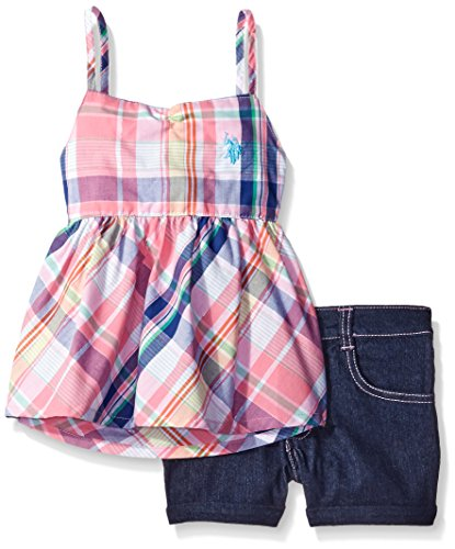 U.S. Polo Assn. Big Girls 2 Piece Plaid Baby Doll Top and Denim Short In Light, Multi Pink Plaid, 10