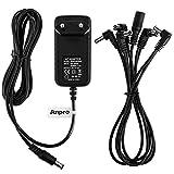 Anpro Power Supply Netzgeräte Adapter für Gitarren Effektpedale 9V DC 1A mit 5 Daisychain Kabel