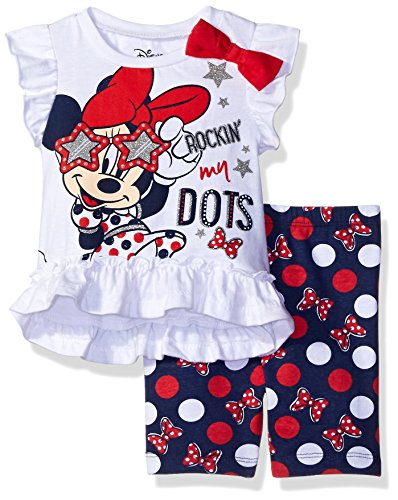 Disney Baby Girls' Minnie Mouse Bike Short Set with Top, White, 12 Months