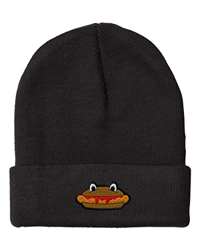 Hot Dog Embroidery Embroidered Beanie Skully Hat Cap Black (Hot Dog Beanie compare prices)