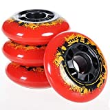 L-glace インライン スペアウィール ローラースケート用スペアウィール 4個セット 4輪インライン片足分 85A wheel for inline skate レッド M