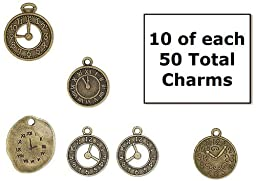 Clock Watch Charms Antiqued Bronze 50 Piece Set Steampunk
