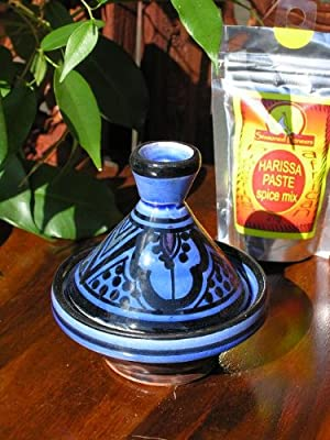 Baby Moroccan Tagine With Traditional Blue Decoration from Maroque