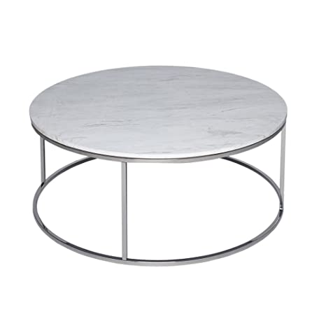 Gillmore Space Marmo bianco e argento metallico circolare tavolino da salotto contemporaneo