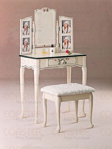 Hand Painted Vanity Table & Matching Stool Set w/Photo Frame